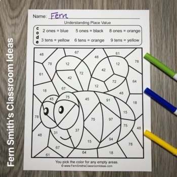 2nd Grade Go Math 1.3 Color By Numbers Understanding Place Value