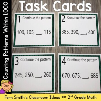 2nd Grade Go Math 1.9 Counting Patterns Within 1000 Task Cards