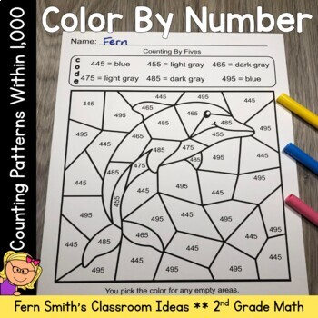 2nd Grade Go Math 1.9 Counting Patterns Within 1000 Color By Numbers