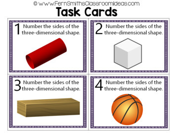 2nd Grade Go Math 11.2 Attributes of Three-Dimensional Shapes Task Cards