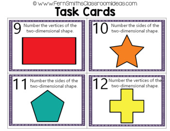 2nd Grade Go Math 11.3 Two-Dimensional Shapes Task Cards