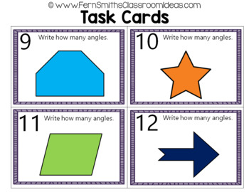 2nd Grade Go Math 11.4 Angles In Two-Dimensional Shapes Task Cards