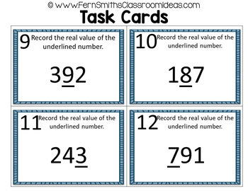 2nd Grade Go Math 2.5 Understanding Place Value Within 1000 Task Cards
