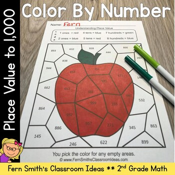 2nd Grade Go Math 2.5 Understanding Place Value within 1000 Color By Numbers