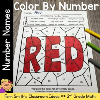 2nd Grade Go Math 2.6 Understanding Number Names Color By Numbers