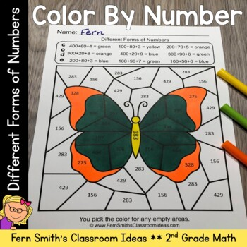 2nd Grade Go Math 2.7 Different Forms of Numbers Color By Numbers