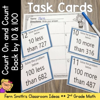 2nd Grade Go Math 2.9 Count On and Count Back By 10 and 100 Task Cards