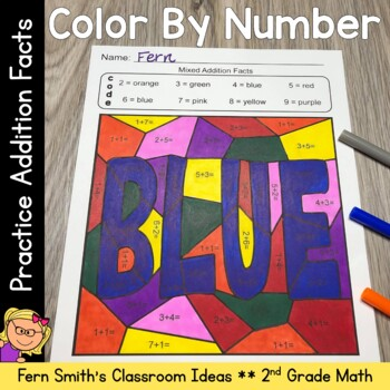 2nd Grade Go Math 3.2 Practice Addition Facts Color By Numbers | TpT