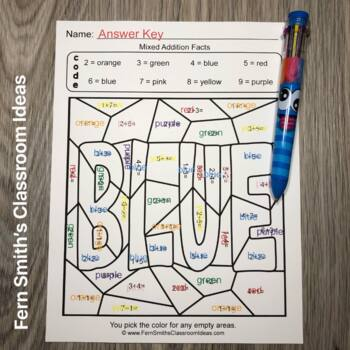 2nd Grade Go Math 3.2 Practice Addition Facts Color By Numbers