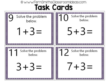 2nd Grade Go Math 3.2 Practicing Addition Facts Task Cards