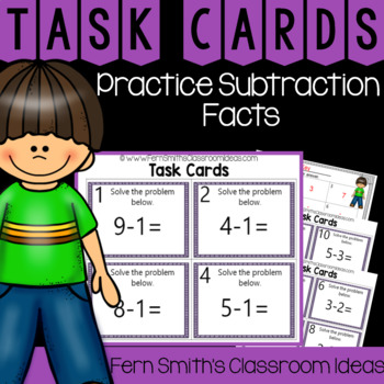2nd Grade Go Math 3.4 Practicing Subtraction Facts Task Cards
