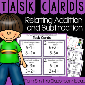 2nd Grade Go Math 3.5 Relating Addition and Subtraction Task Cards