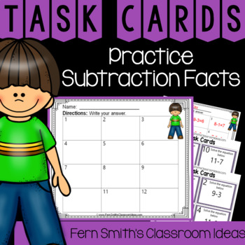 2nd Grade Go Math 3.6 Practicing Subtraction Facts Task Cards
