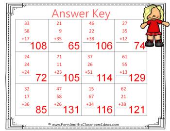2nd Grade Go Math 4.11 Find Sums for 3 Addends Center Games