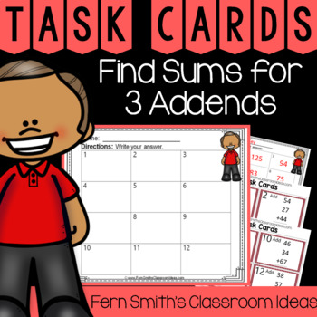 2nd Grade Go Math 4.11 Find Sums for 3 Addends Task Cards