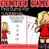 2nd Grade Go Math 4.12 Find Sums for 4 Addends Center Games