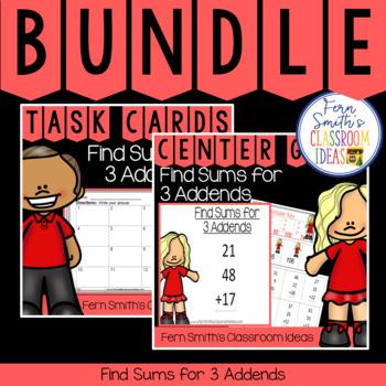 2nd Grade Go Math 4.11 Find Sums for 3 Addends Bundle