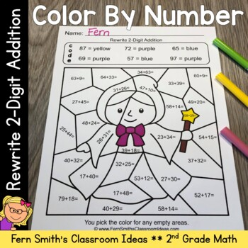 2nd Grade Go Math 4.8 Rewrite 2-Digit Addition Color By Numbers
