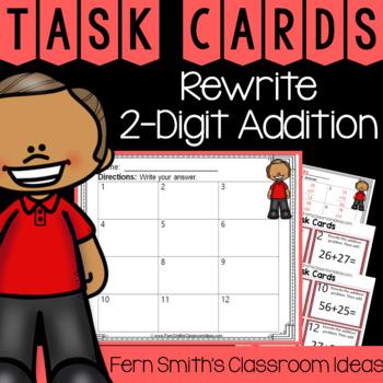 2nd Grade Go Math 4.8 Rewrite 2-Digit Addition Task Cards