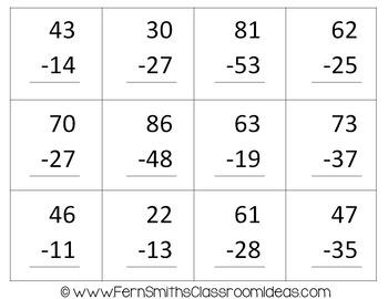 2nd Grade Go Math 5.6 Practice 2-Digit Subtraction Center Games