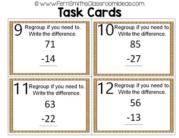 2nd Grade Go Math 5.6 Practice 2-Digit Subtraction Task Cards