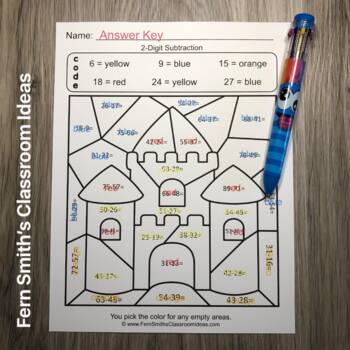 2nd Grade Go Math 5.7 Rewrite 2-Digit Subtraction Color By Numbers