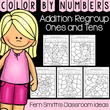 2nd Grade Go Math 6.5 Addition: Regroup Ones and Tens Color By Numbers