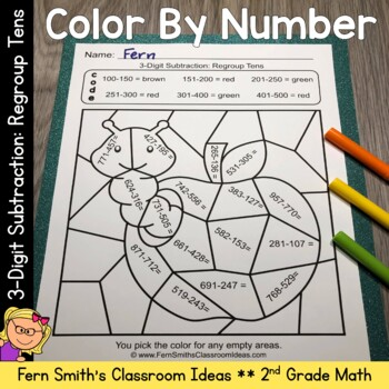 2nd Grade Go Math 6.7 Subtraction: Regroup Ones Color By Numbers
