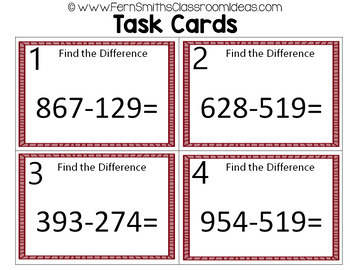 2nd Grade Go Math 6.7 Subtraction: Regroup Ones Task Cards