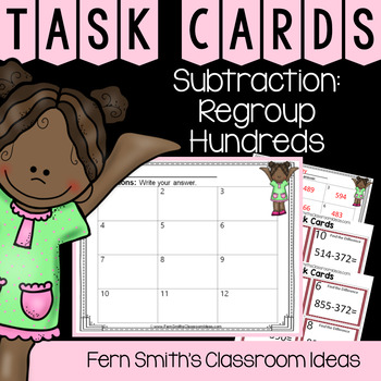 2nd Grade Go Math 6.8 Subtraction: Regroup Tens Task Cards