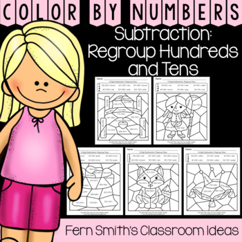 2nd Grade Go Math 6.9 Subtraction: Regroup Hundreds and Tens Color By Numbers
