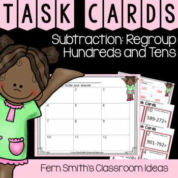 2nd Grade Go Math 6.9 Subtraction: Regroup Hundreds and Tens Task Cards
