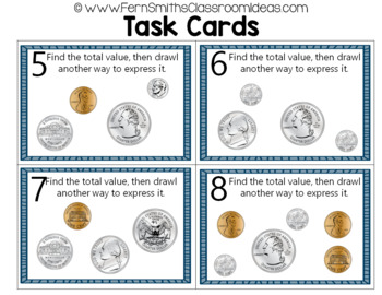 2nd Grade Go Math 7.4 Show Amounts in Two Ways Task Cards