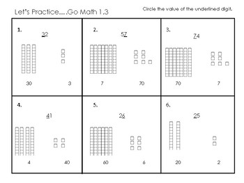 2nd Grade Go Math Ch. 1 Review Sheets