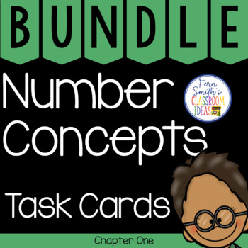 2nd Grade Go Math Chapter 1 Number Concepts Task Cards Bundle