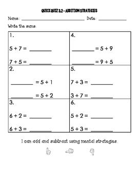 2nd Grade Go Math Chapter 3 Quick Quizzes