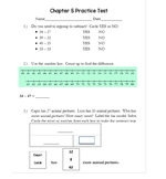 2nd Grade Go Math Chapter 5 Practice Test with Answer Sheet
