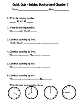 2nd Grade Go Math Chapter 7 Quick Quizzes