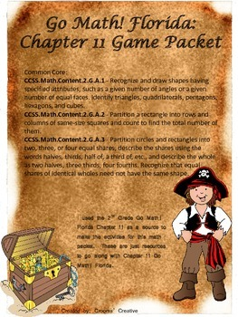 2nd Grade Go Math!  Florida Chapter 11 Geometry and Fractions Game Packet