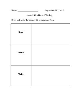 2nd Grade GoMath Chapter 1 Lesson 1.4 Assessment Sheet