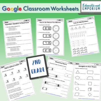 2nd Grade Google Classroom Math Bundle, Interactive Digital Math Curriculum, 2nd