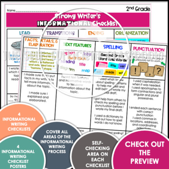 2nd Grade Grade Opinion, Narrative, & Informational Writing Rubric/Posters