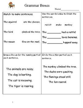 2nd Grade Grammar Boxes Free!