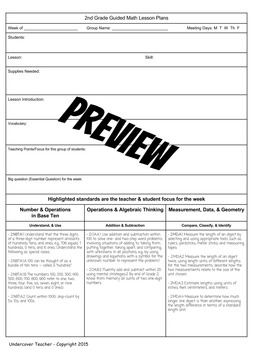 2nd Grade Guided Math Lesson Plan Template & Checklists Bundle (Editable)