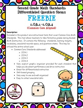 2nd Grade Guided Math with Differentiated Question Stems:  FREEBIE!