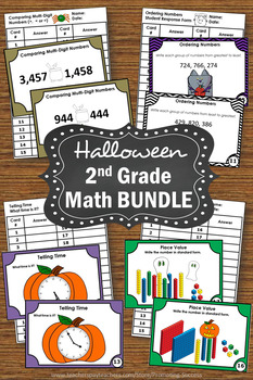 2nd Grade Halloween Math Activities BUNDLE, Halloween Place Value Task Cards