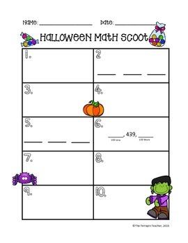 2nd Grade Halloween Math Scoot