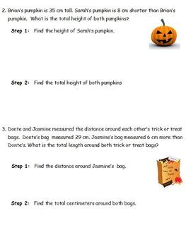 2nd Grade Halloween Tape Diagram Practice Based on Eureka Math/Common Core!