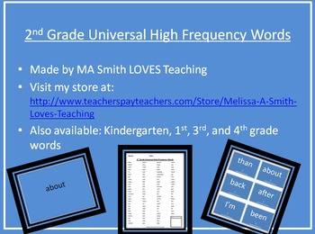 2nd Grade High Frequency Sight Word Pack - PP, List, and Cards