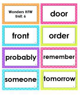 2nd Grade Reading Wonders High Frequency Word Cards - Unit 6